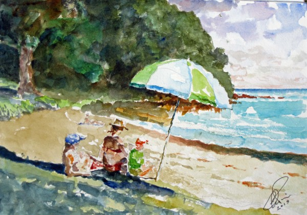 beach watercolor NZ