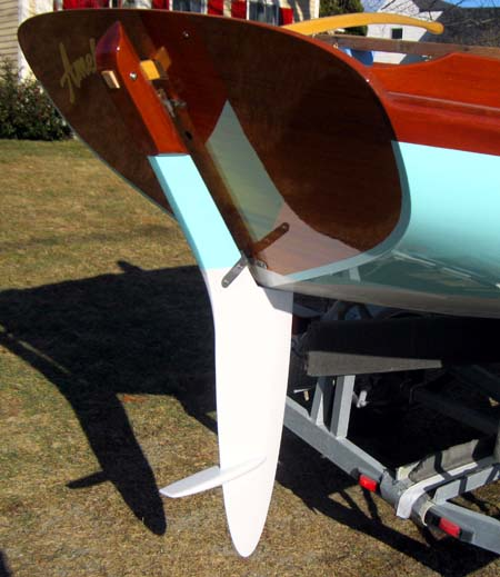 The beautifully crafted rudder with its integral rescue step.