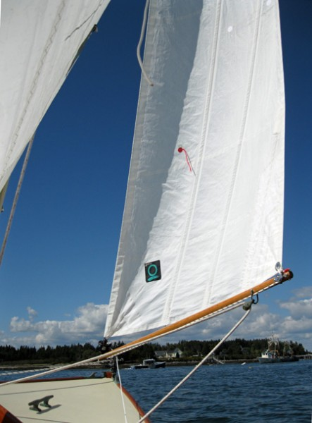 Even let out this much, the angle of the sail to the wind is nearly constant from foot to head.