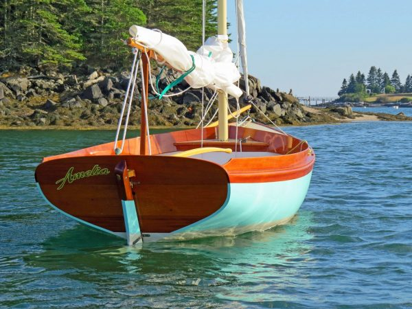 Unlike centerboard boats of this size, she can be kept on a mooring.