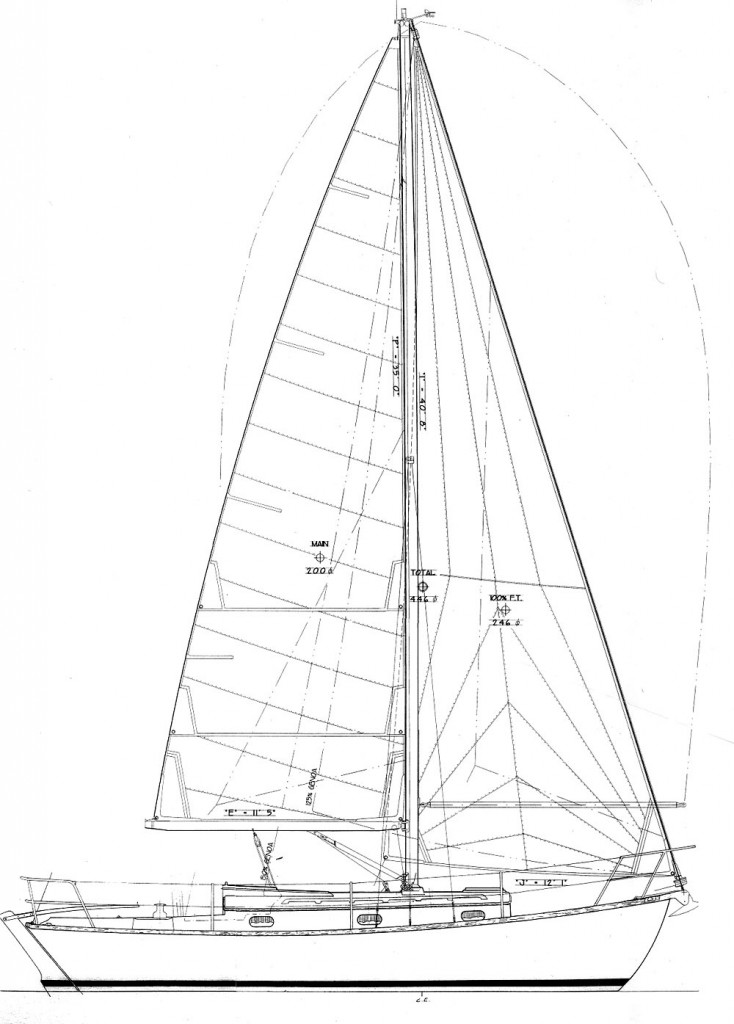 Dhe carries a lot of sail on a tall rig with a genoa jib.