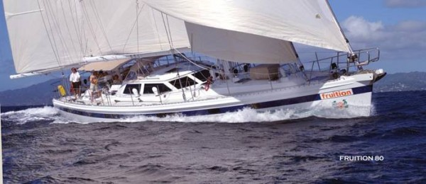 The Bermuda Series yachts were fast passagemakers. They were Chuck's interpretation of Steve Dashew's Deerfoot and Sundeer series, but built to a higher level of finish and fitted with the Paine Keel. Fruition is an 80-foot example built in aluminum at Kanter Yachts in Ontario.