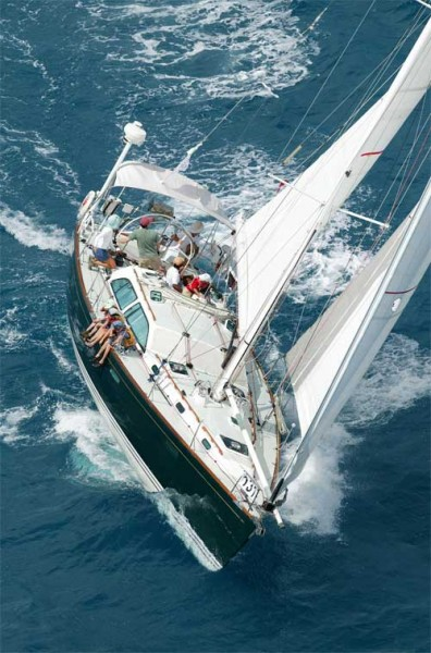 Firefly winning her class at Antigua Race Week, 2007. Five firsts in five races, with only the owner's small children for rail meat.
