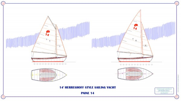 You may choose from either a gaff or Marconi rig. The hull lines pay respectful homage to Nat Herreshoff's wonderful 12½, but with flatter deadrise and a true NACA foil fin keel. Construction is of cold molded wood or fiberglass with extensive varnished wood trim and all detailing strictly replicates the true H 12½.