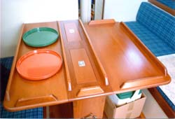 The table is large enough to serve five.